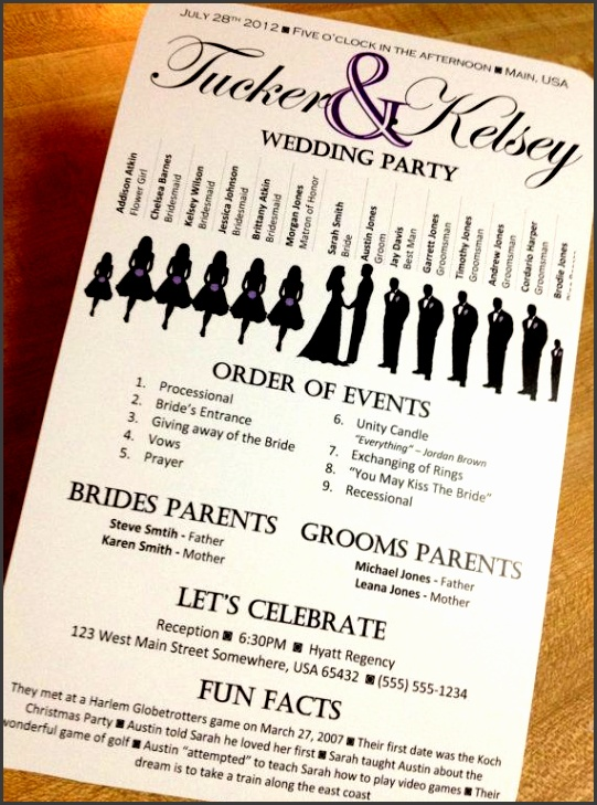 silhouette wedding program vertical layout stacked names customizable 5 5 x8 5 design 4