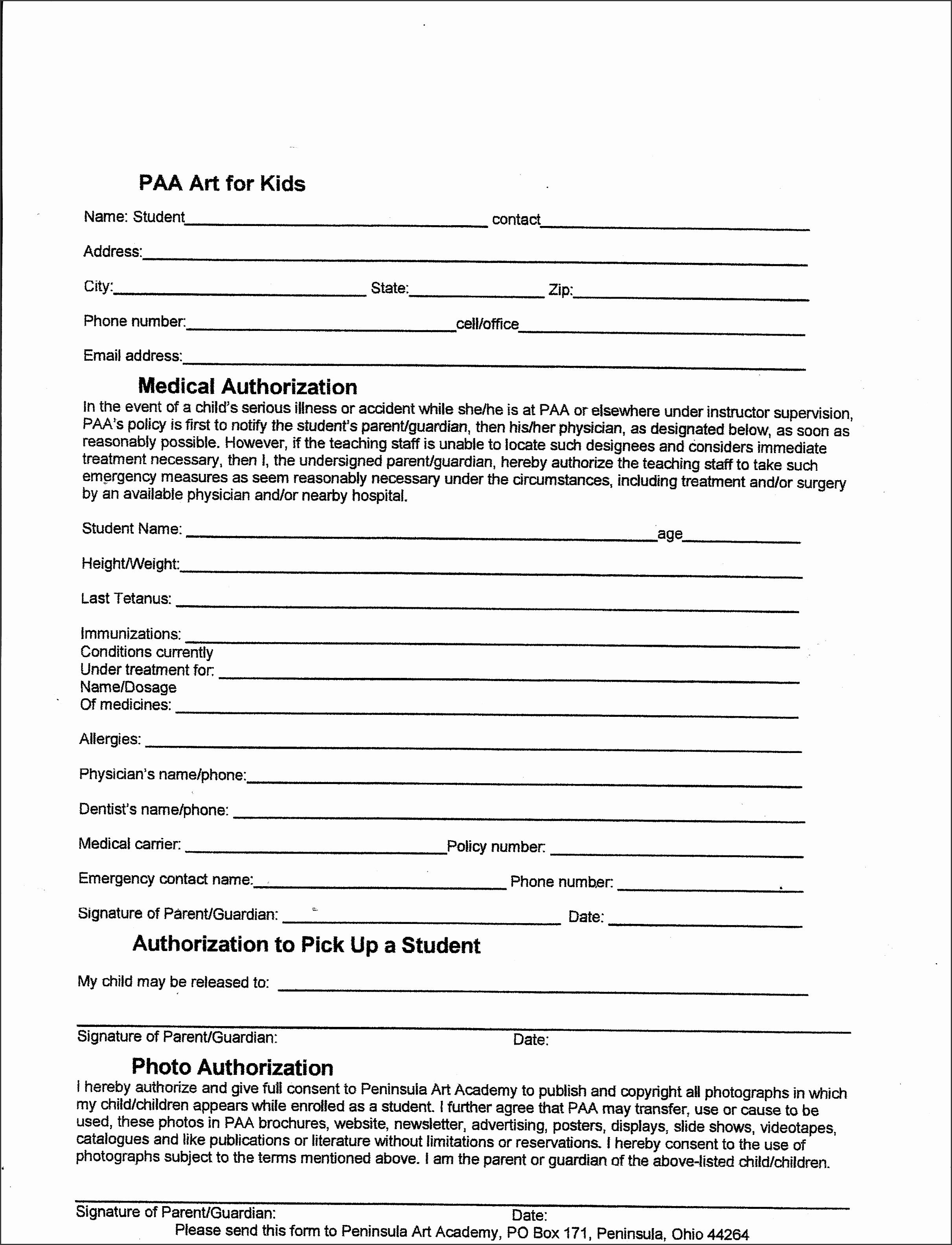 camp permission form entrancing