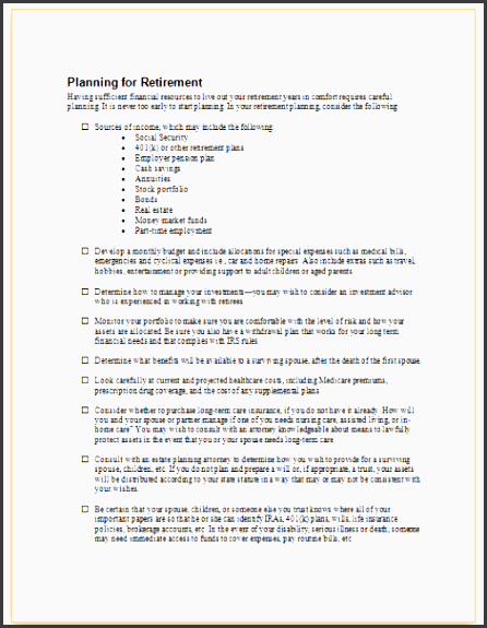 this sample checklist presents a number of issues for employees to consider in planning for retirement including regular savings and investments