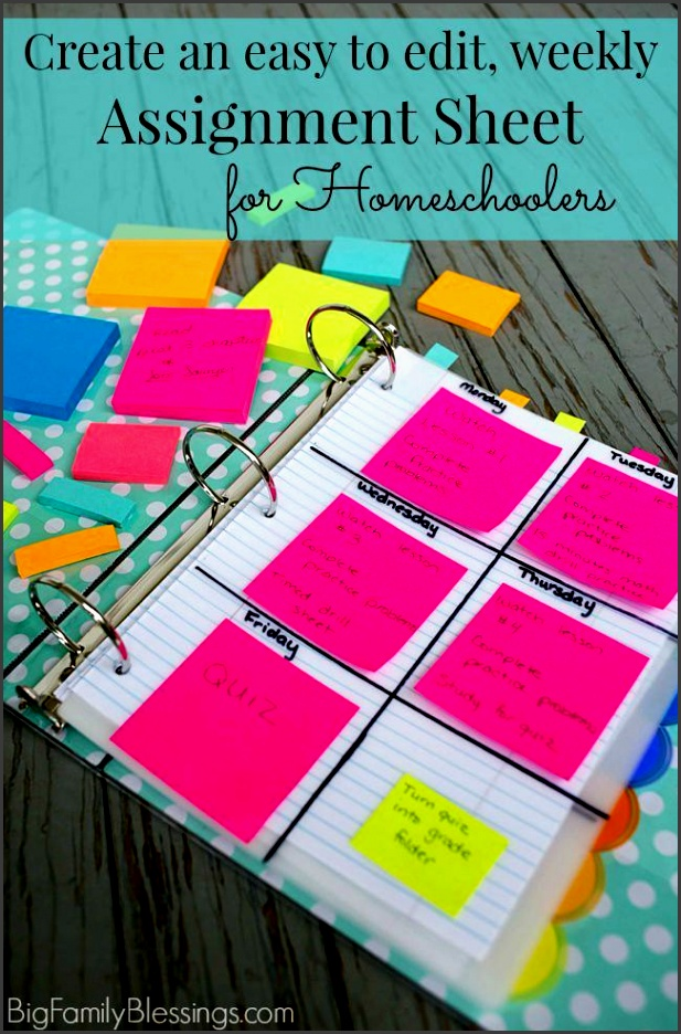 create an easy to edit homeschool weekly assignment sheet