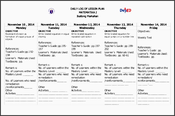 daily log of lesson plan