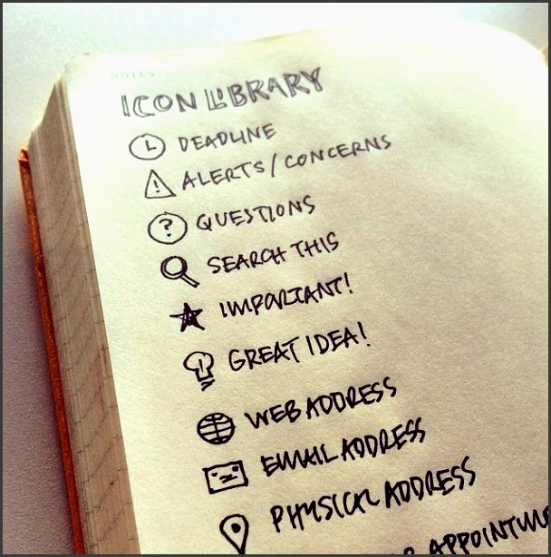 great idea for your bullet journal created an icon library in my yearly logbook on camera to show how to carry icons with you