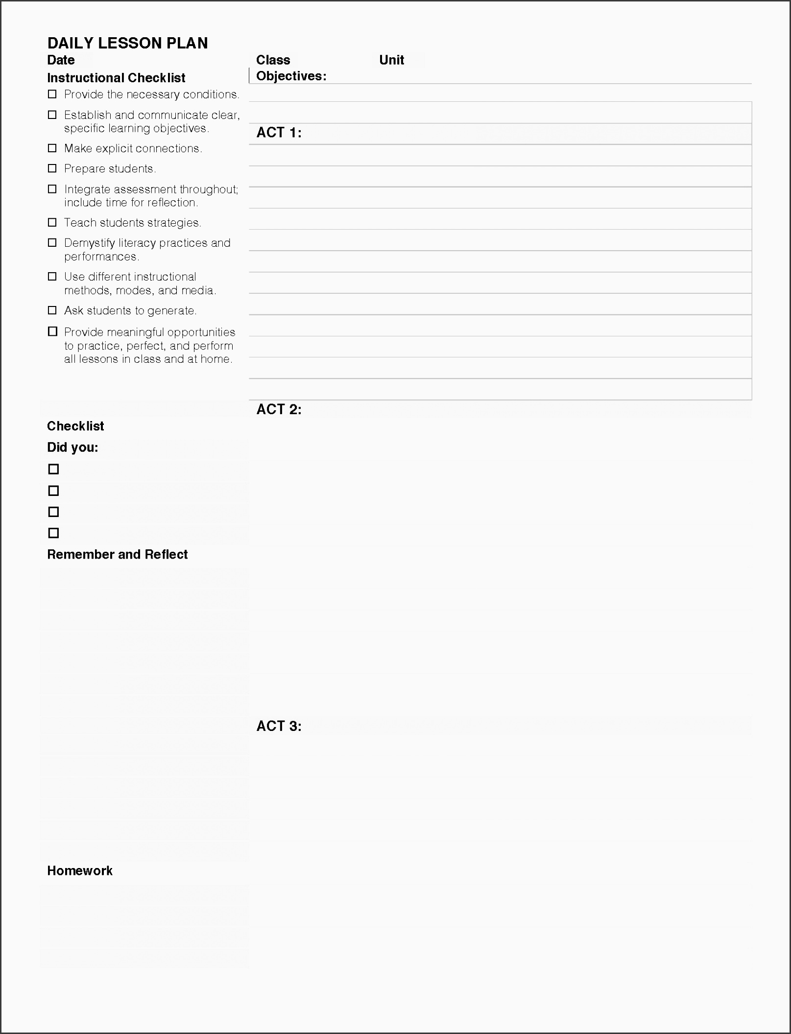 daily lesson plan template 3 acts