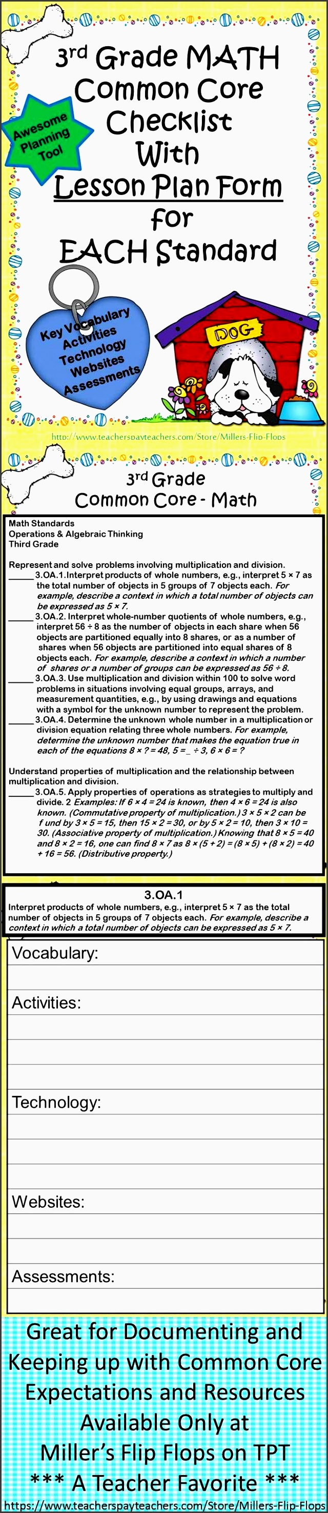 3rd grade math mon core checklists lesson planning form fun dog theme lesson plan formatlesson