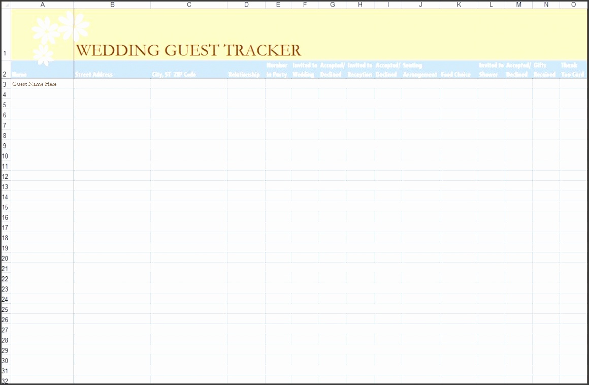 7 free guest list templates excel pdf formats best of wedding template