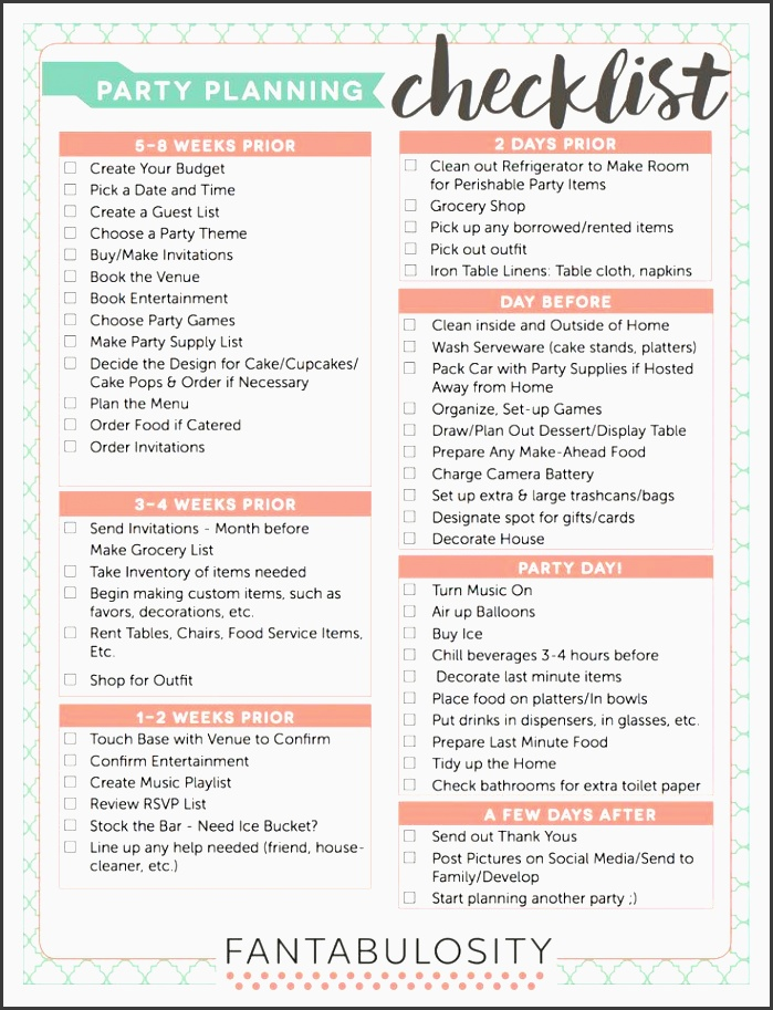 party planning checklist free