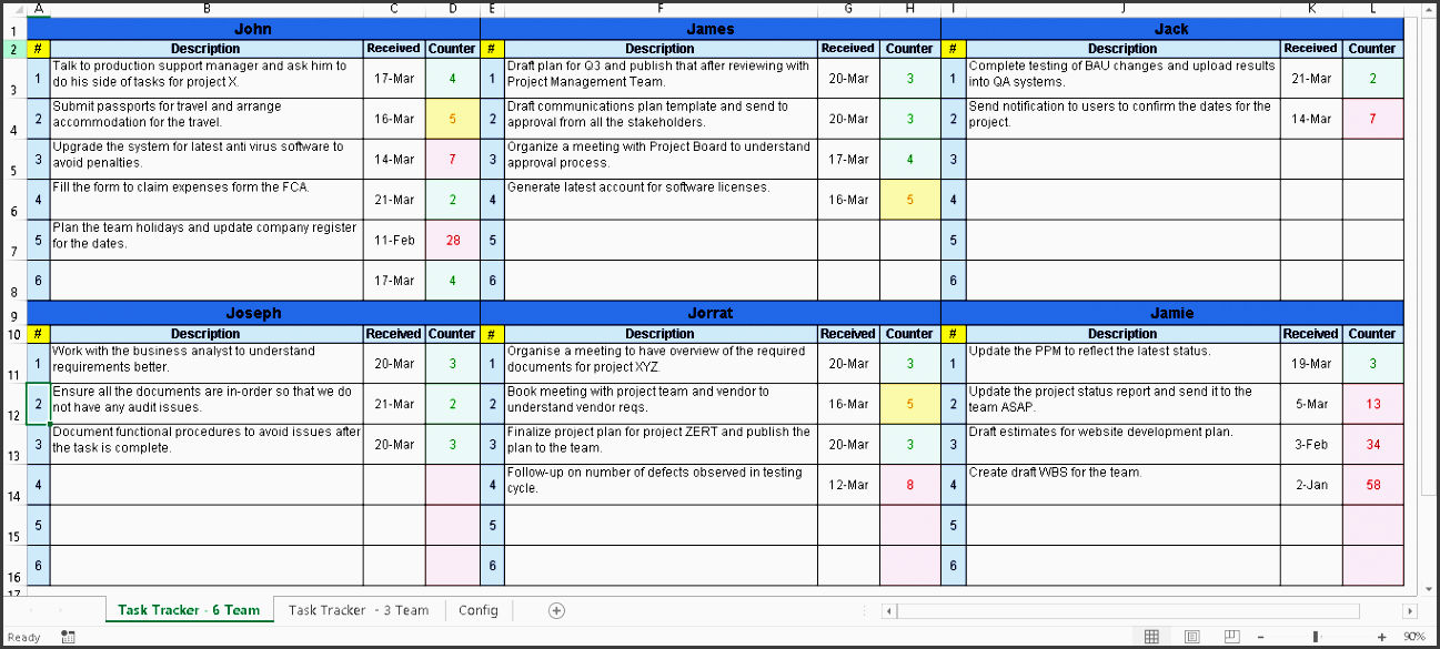 simple excel task tracker with sla tracking