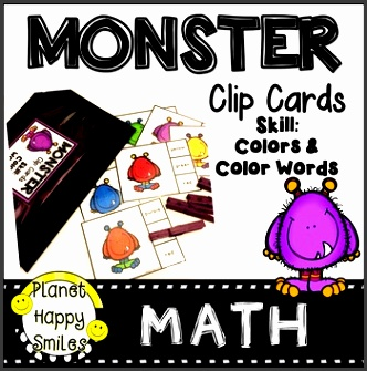 math station made easy and fun with monsters skills color matching reading color words fine motor skills all you need to add are clothespins dry erase