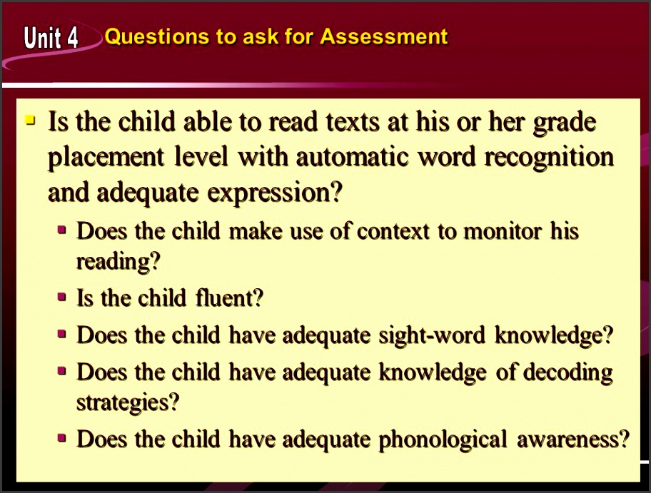 questions to ask for assessment ï is the child able to read texts at his or