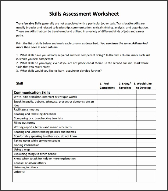 skills assessment template for free