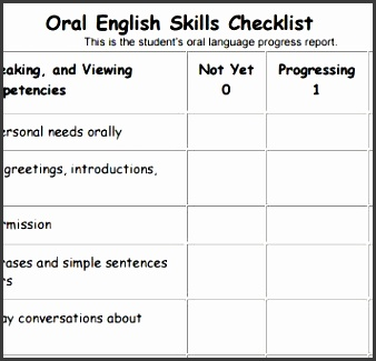 assessment instruction understanding an oral language skills checklist provided at the end of