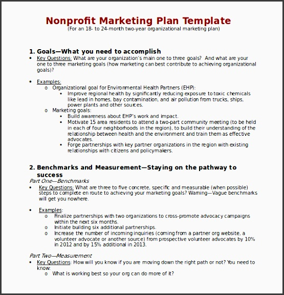 non profit marketing plan template in word