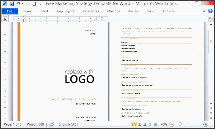professionally designed and outlined marketing plan