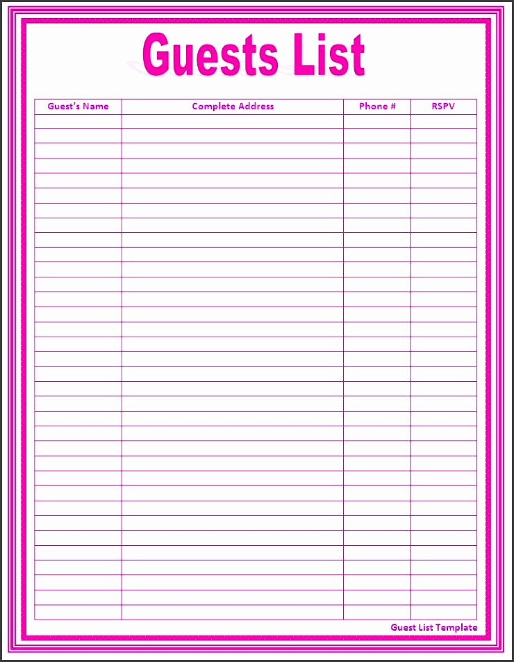 free wedding guest list template 7 free wedding guest list templates and managers 7 free wedding guest list templates and managers 17 wedding guest list