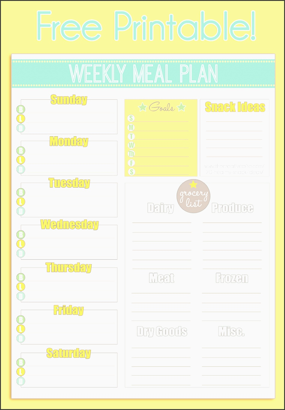 use this free printable weekly meal planner to organize your menu and grocery list take the guess work out of preparing weeknight dinners and grocery