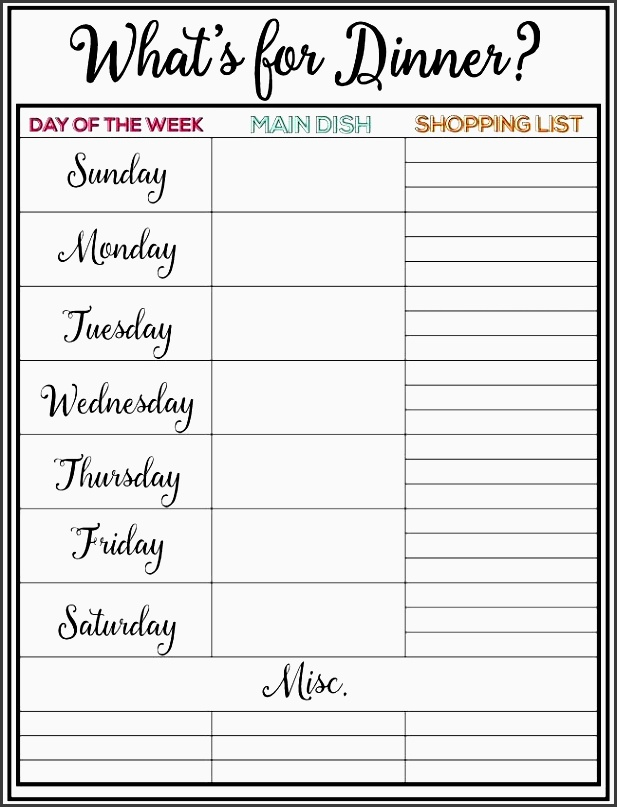 weekly meal plan printable week 9