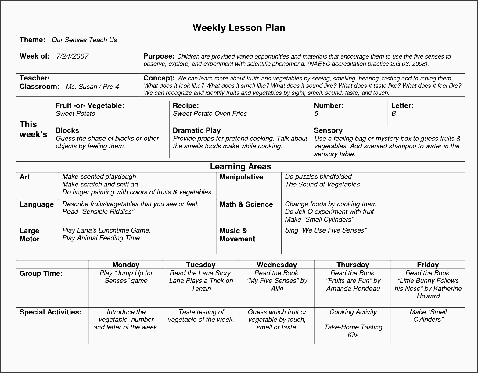 naeyc lesson plan template for preschool sample weekly lesson plan template