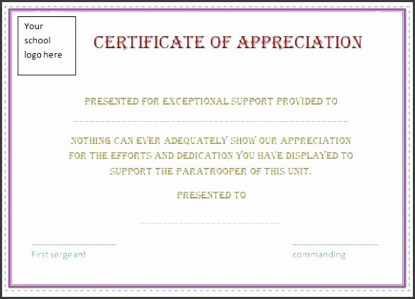 free certificate appreciation template purple border employee recognition awards
