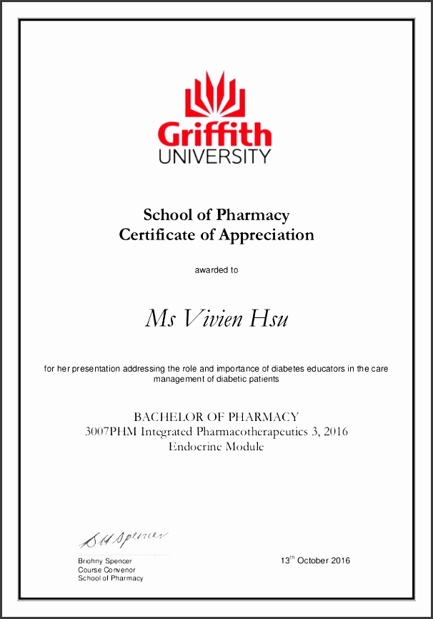 school of pharmacy certificate of appreciation awarded to ms vivien hsu for her presentation addressing the