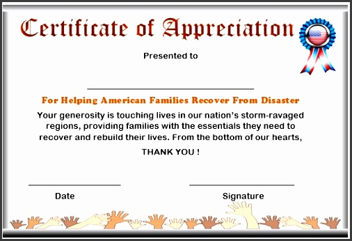 certificate of appreciation for donation to natural disaster recovery certificate of appreciation donation 6