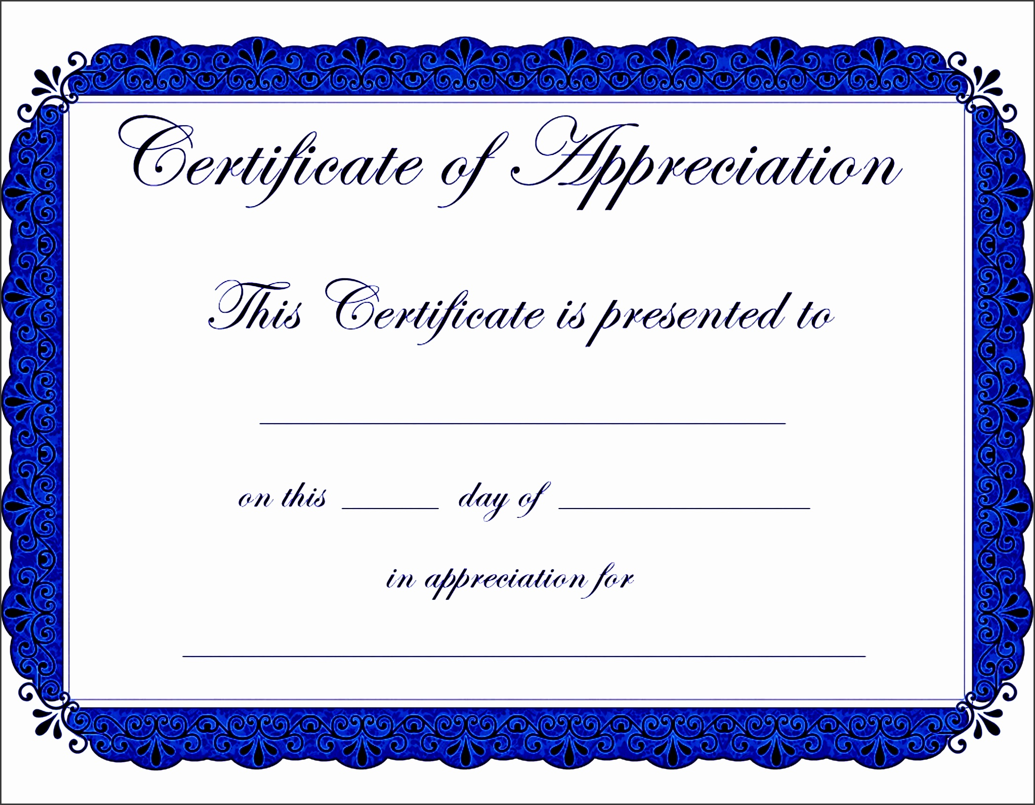 appealing award template word for certificate of appreciation with blue color theme and floral motif