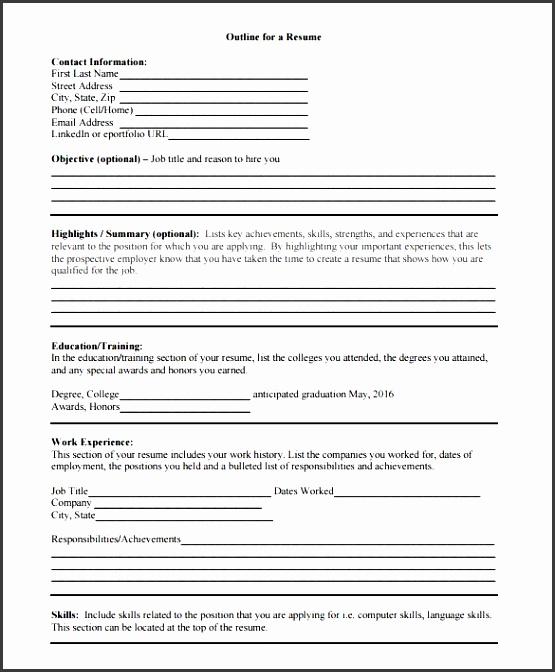 blank outline for a resume pdf format