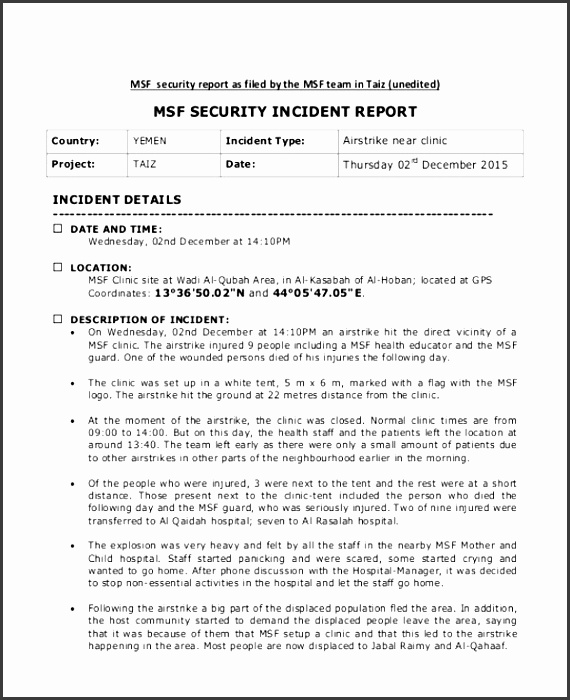 hospital security incident report example