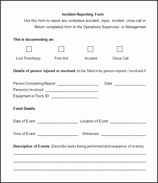 blank emplayee incident reporting form