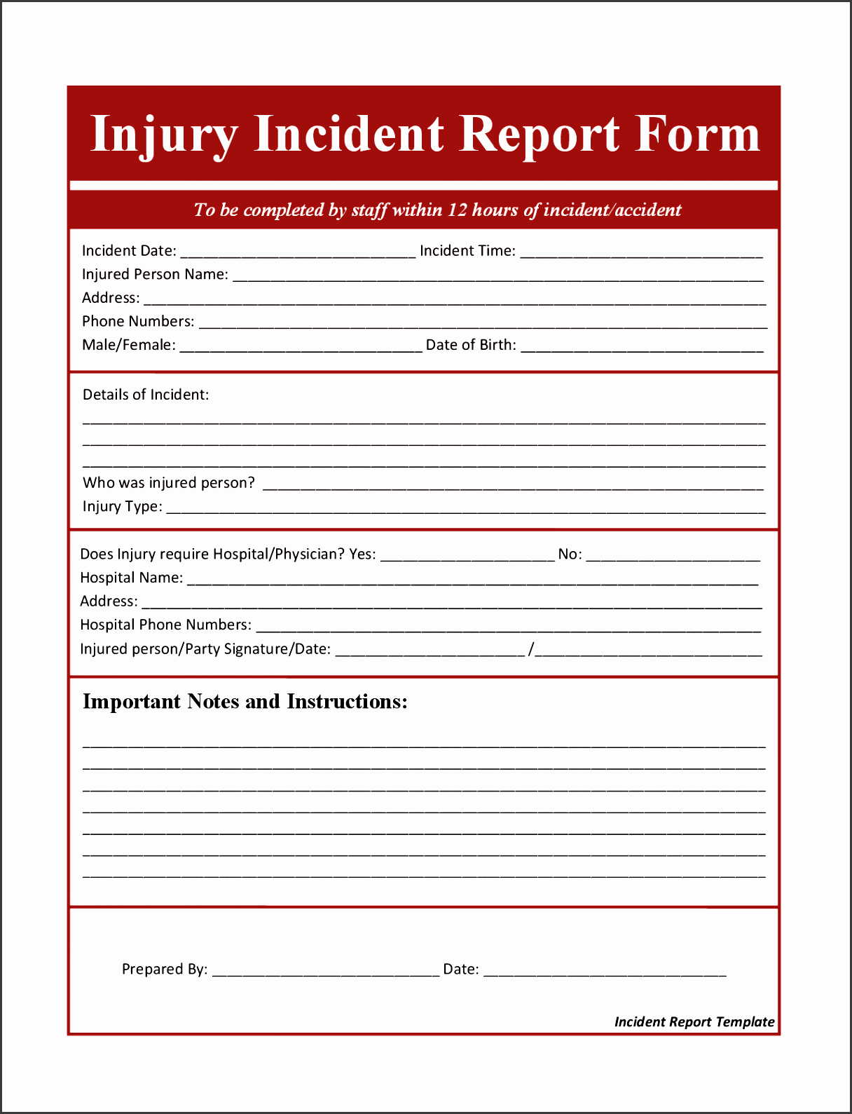 incident report template word 16 7 incident report template word