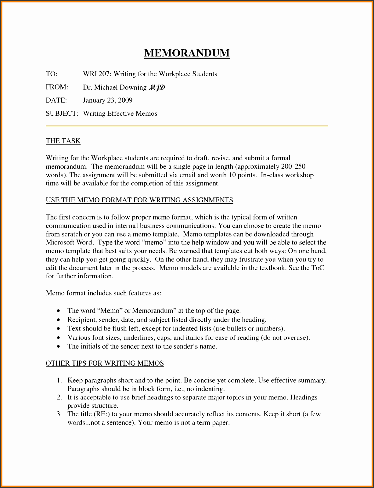 picture of internal memo template full size