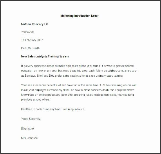 sample marketing introduction letter