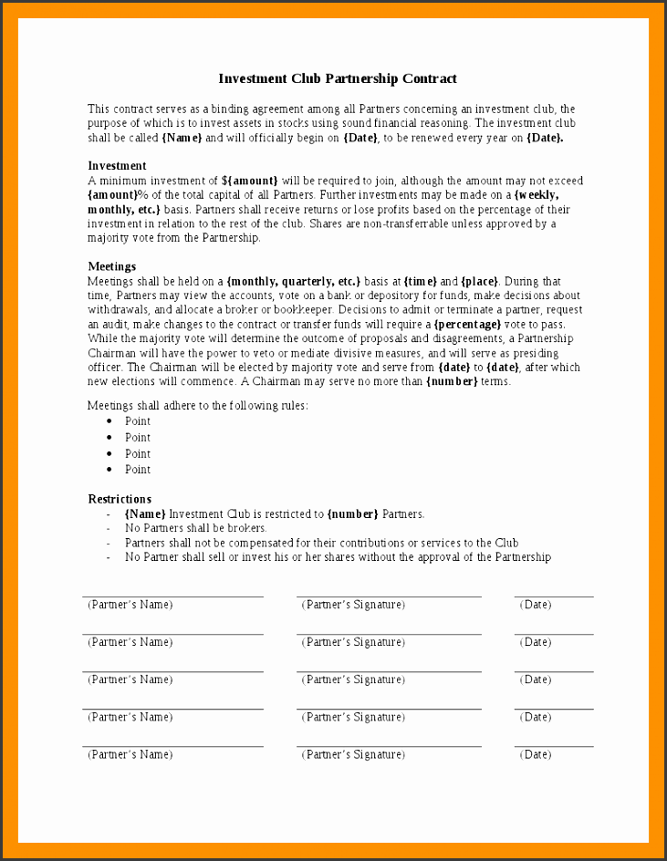 simple investment contractvestment contract template