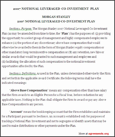 investment plan agreement