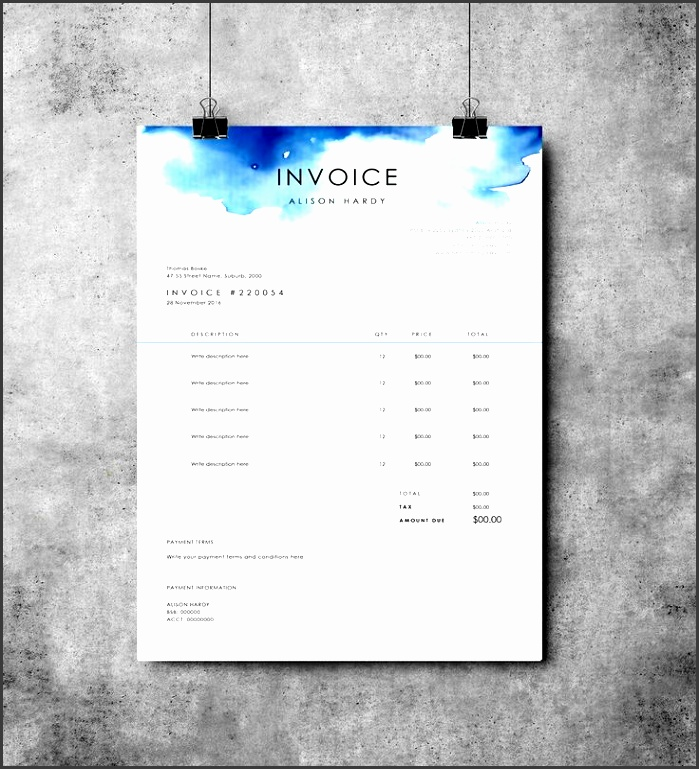 invoice template receipt ms word template instant invoice by emandcodesign on etsy