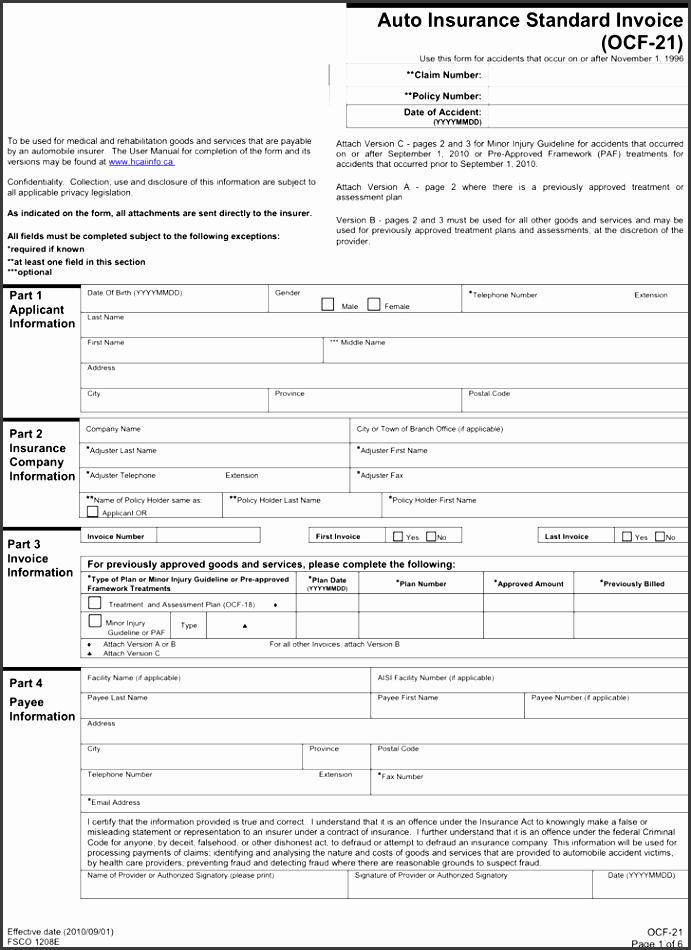 auto insurance standard invoice