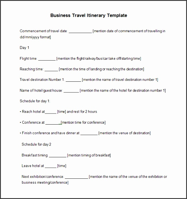 travel itinerary example 12 free word pdf documents