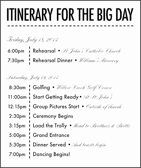 26 wedding itinerary templates free sample example format beautiful schedule template