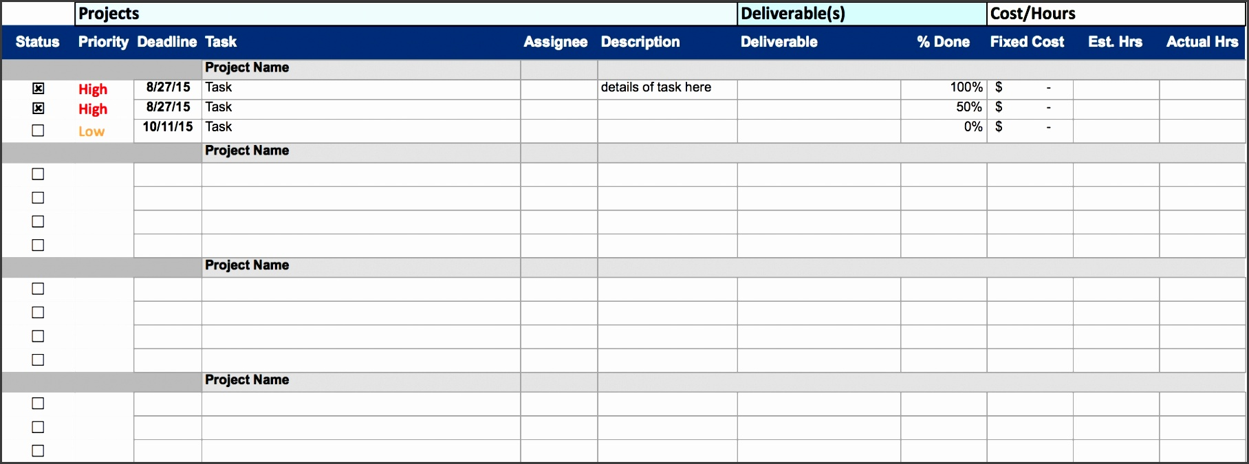 free excel project management templates project schedule template