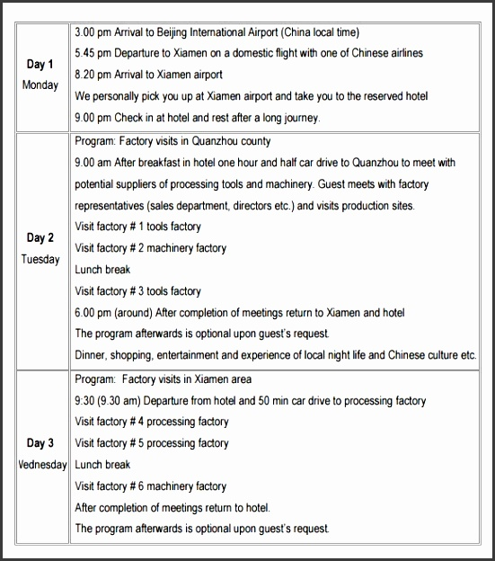 travel itinerary template in word