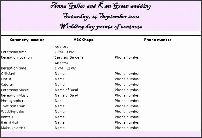 printable wedding itinerary template 04