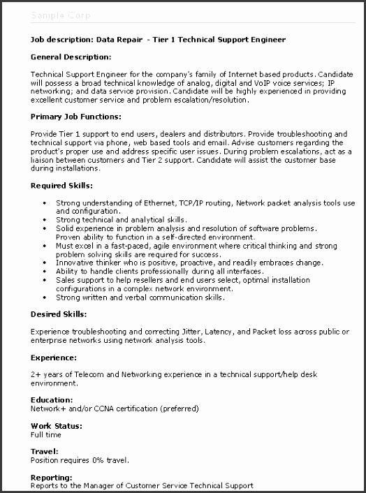 job description sample 12 sample resumes
