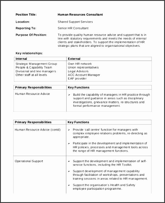 human resource consultant job description