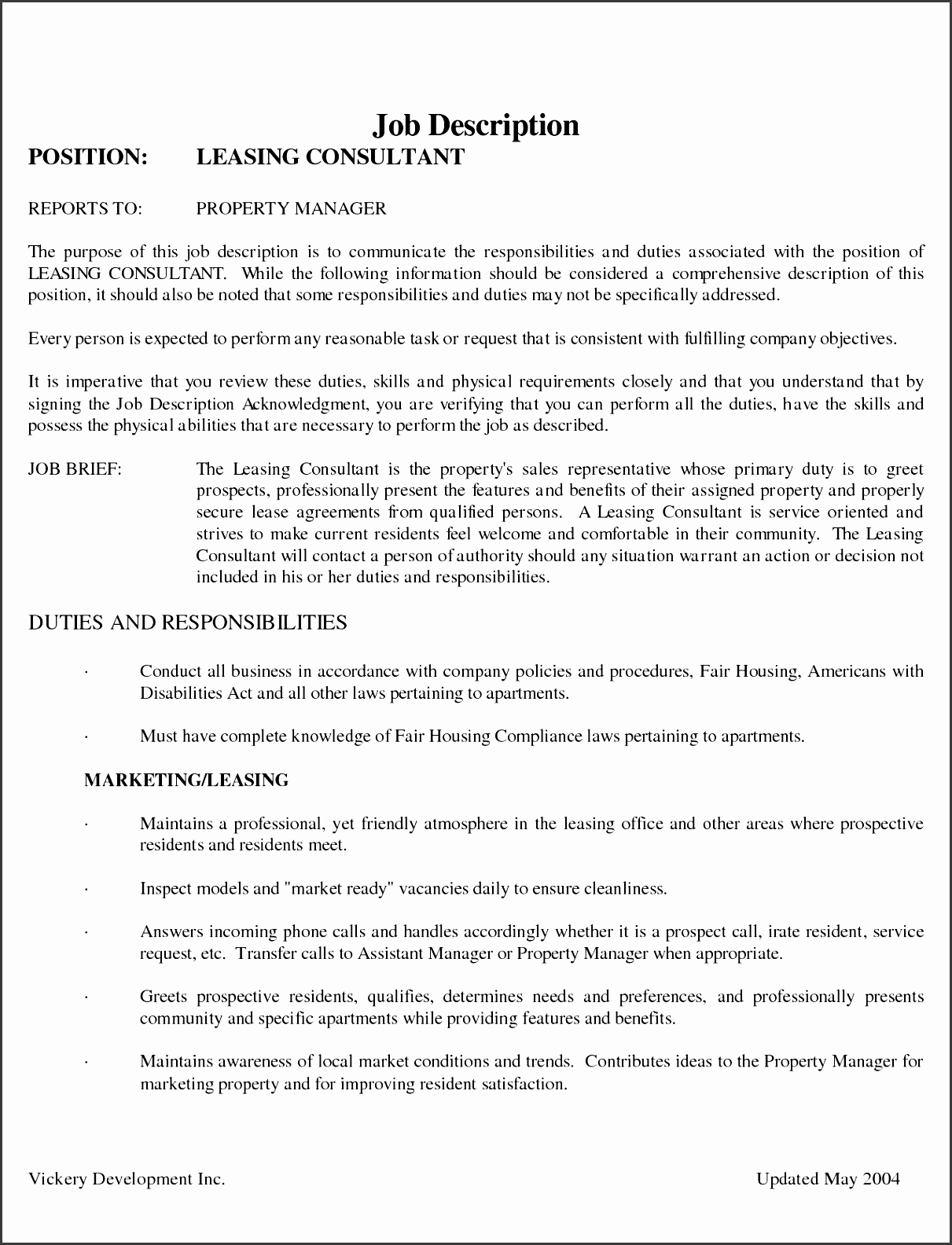 leasing agent resume example