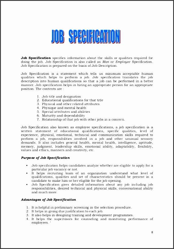 job specification specifies information