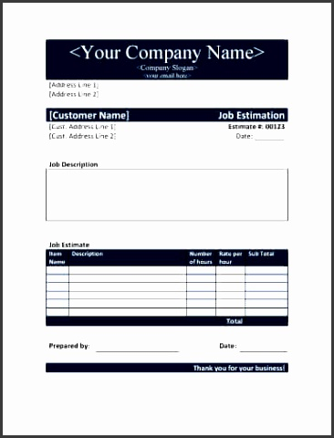 job estimate form in word