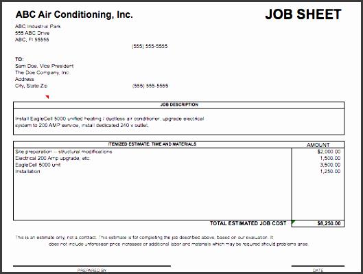 Job Sheet Template  Job Sheets Templates Excel