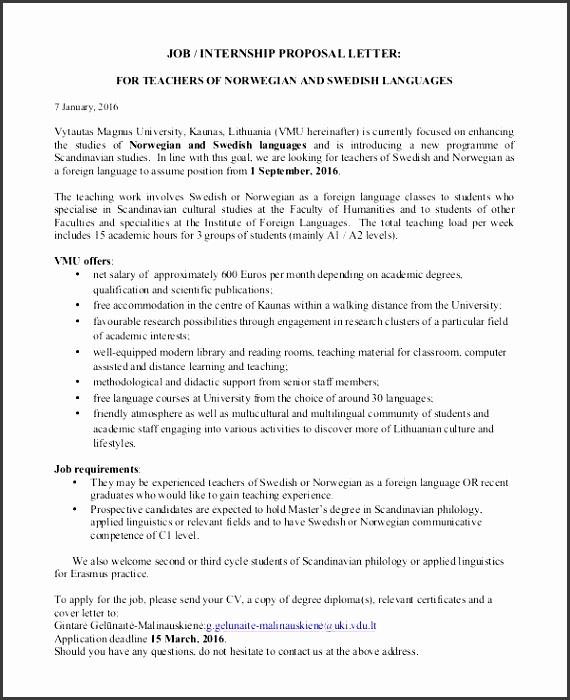 job internship proposal letter