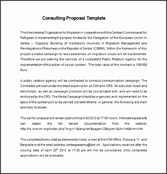 if you create the management consulting proposal free word mention the call for the proposal last date of the submission and the rules and