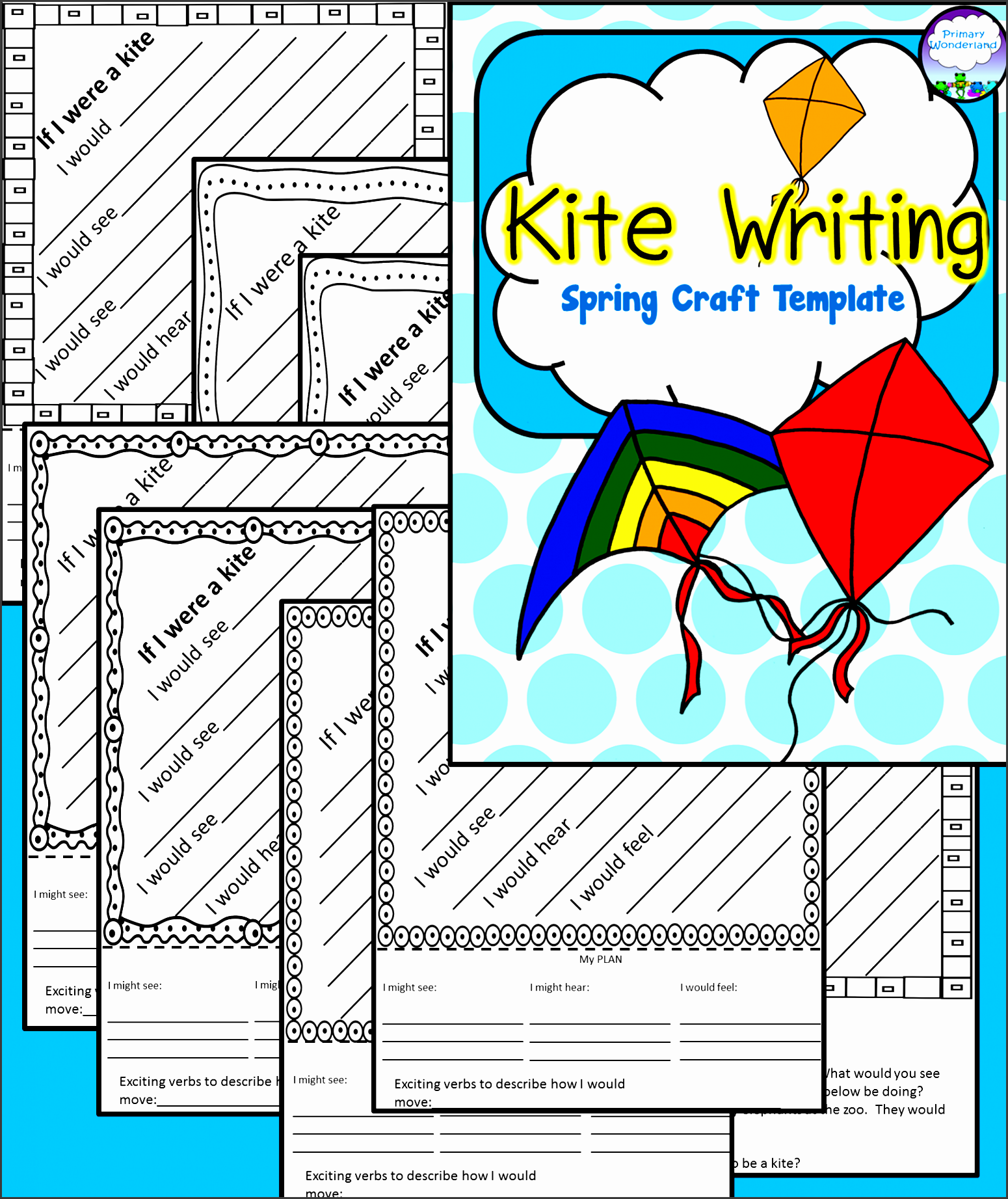 an abundance of kite templates with directions for a beautiful tail that stays floating in the
