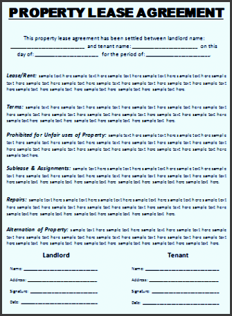 Rental And Lease Agreement Template